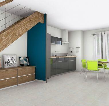 Vue 3D rdc cuisine d'un appartement rénover